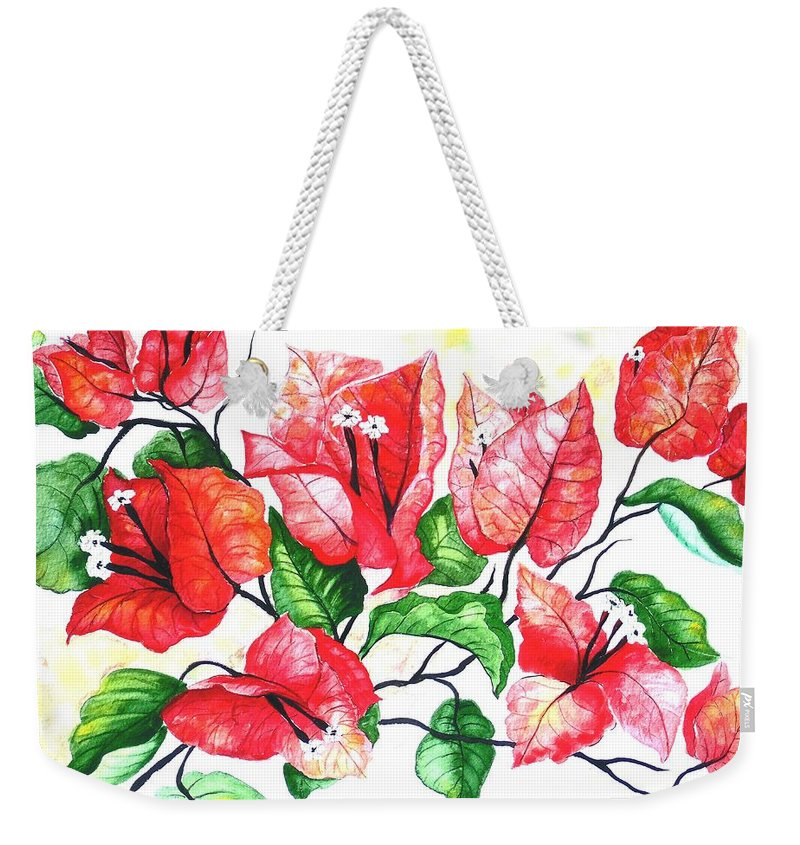 Red Flower Weekender Tote Bag featuring the painting Red Bouganvillia by Karin Dawn Kelshall- Best