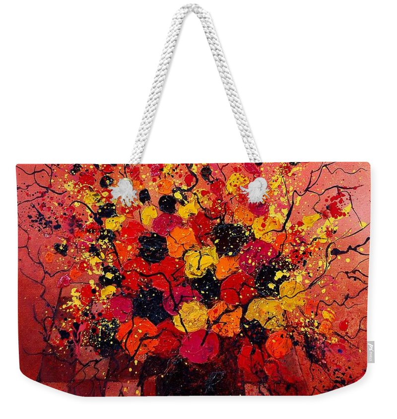 Flowers Weekender Tote Bag featuring the painting Red Bunch by Pol Ledent