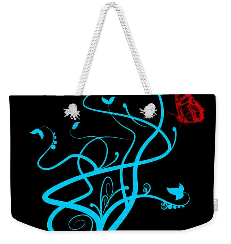 Flower Weekender Tote Bag featuring the digital art Red Butterfly And Vine by Svetlana Sewell