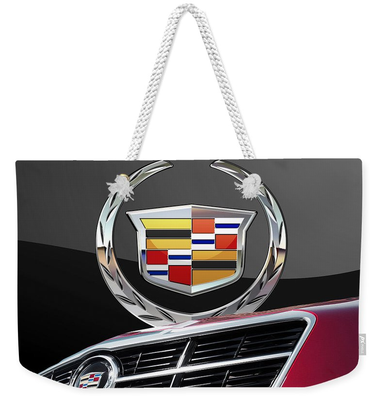 'auto Badges' By Serge Averbukh Weekender Tote Bag featuring the photograph Red Cadillac C T S - Front Grill Ornament and 3D Badge on Black by Serge Averbukh