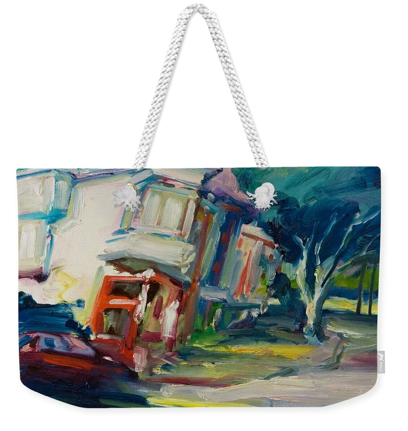 Trees Weekender Tote Bag featuring the painting Red Cafe by Rick Nederlof