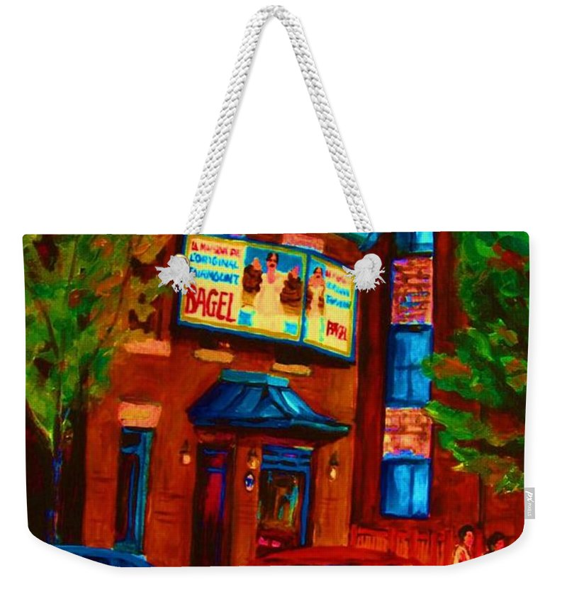 Fairmount Bagel Weekender Tote Bag featuring the painting Red Car Blue Sky by Carole Spandau