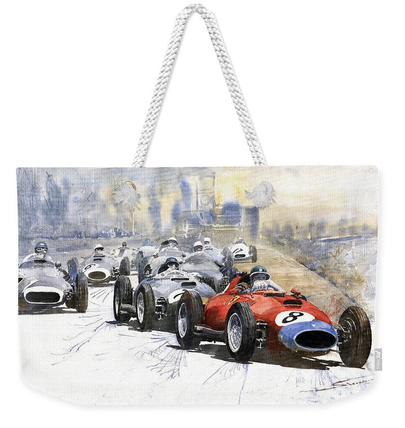 Watercolour Weekender Tote Bag featuring the painting 1957 Red Car Ferrari 801 German Gp 1957 by Yuriy Shevchuk