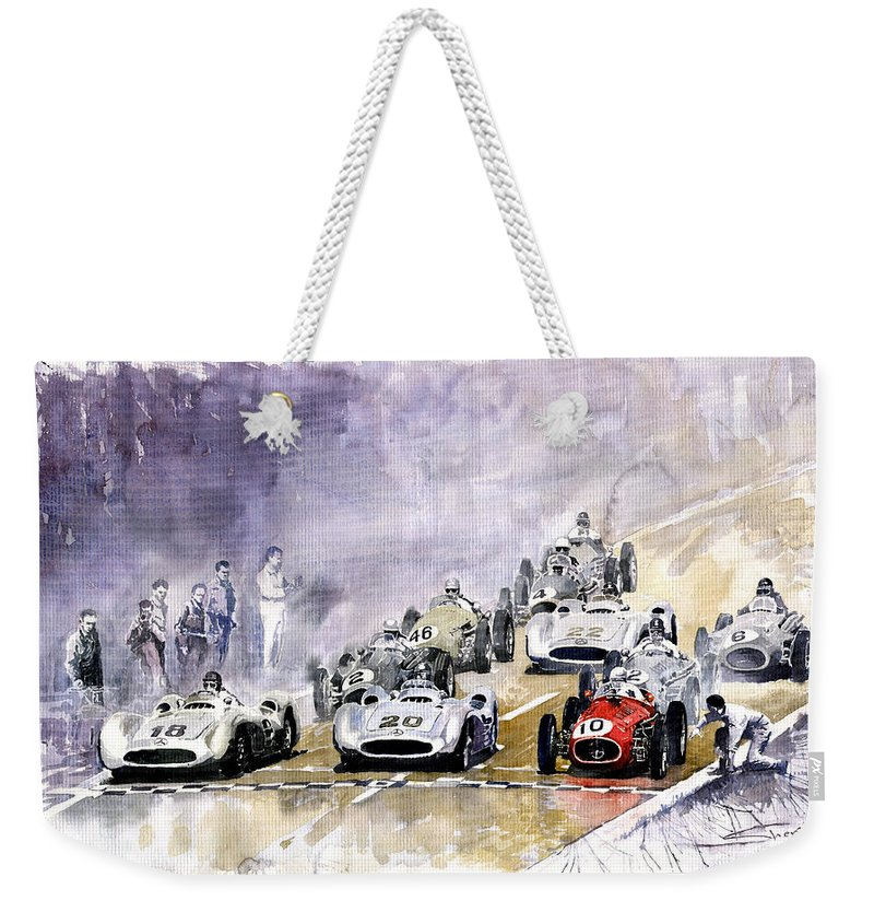 Watercolour Weekender Tote Bag featuring the painting 1954 Red Car Maserati 250 France Gp by Yuriy Shevchuk