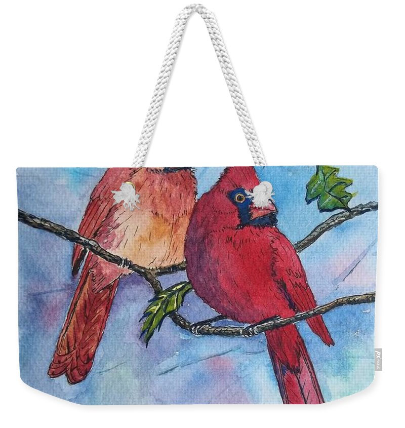 Watercolor Landscape Weekender Tote Bag featuring the painting Red Cardinals by Don Hand