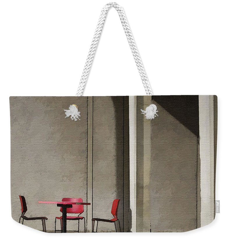 Architecture Weekender Tote Bag featuring the photograph Red Chairs by Sharon Foster