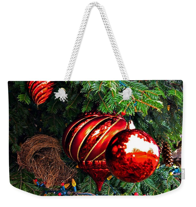 Christmas Weekender Tote Bag featuring the photograph Red Christmas Balls by Rich Walter
