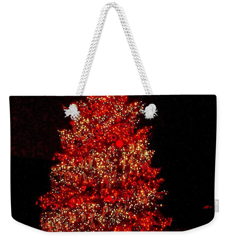 Christmas Weekender Tote Bag featuring the photograph Red Christmas Tree by Nick Zelinsky
