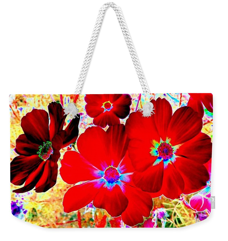 Red Cosmos Weekender Tote Bag featuring the digital art Red Cosmos by Will Borden