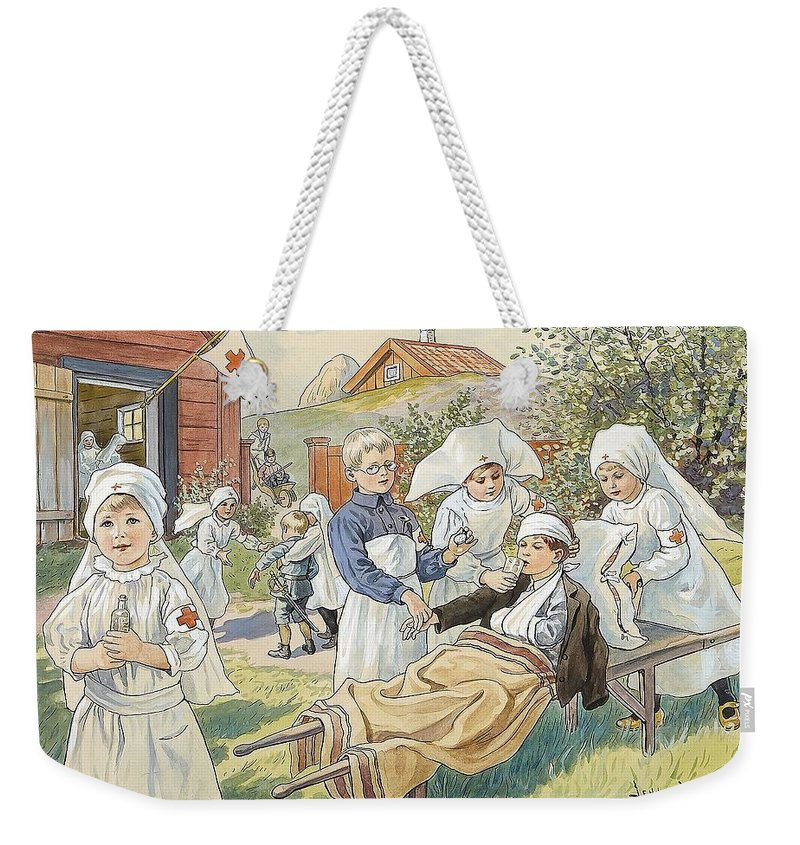Jenny Nyström 1854-1946 Red Cross Weekender Tote Bag featuring the painting Red Cross by MotionAge Designs