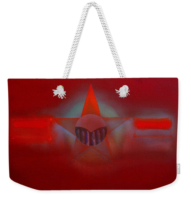 Usaaf Insignia And Idealised Landscape In Union Weekender Tote Bag featuring the painting Red Dawn by Charles Stuart