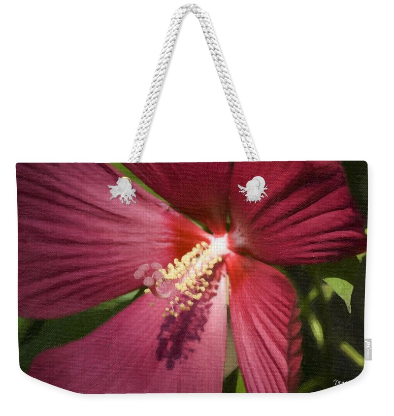 Hibiscus Weekender Tote Bag featuring the painting Red Disco Belle Hibiscus Painting by Teresa Mucha