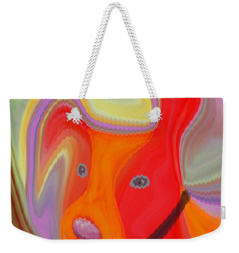 Abstract Weekender Tote Bag featuring the digital art Red Dog by Ruth Palmer