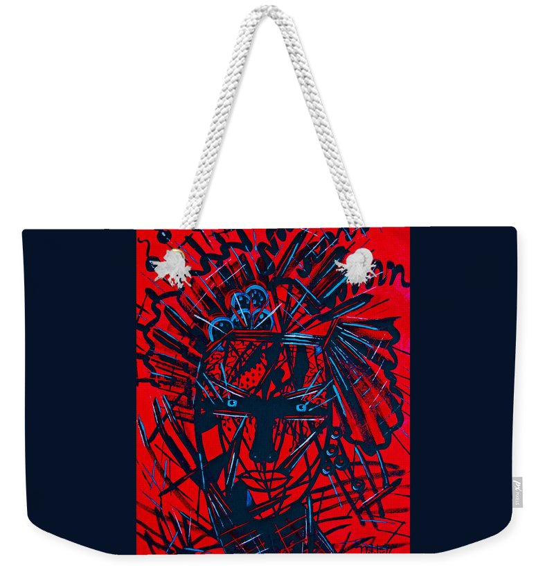 Abstract Weekender Tote Bag featuring the painting Red Exotica by Natalie Holland
