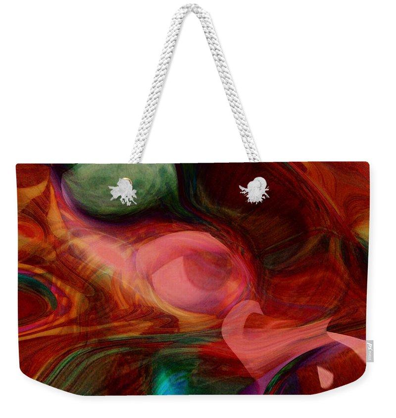 Abstract Art Weekender Tote Bag featuring the digital art Red Eye by Linda Sannuti