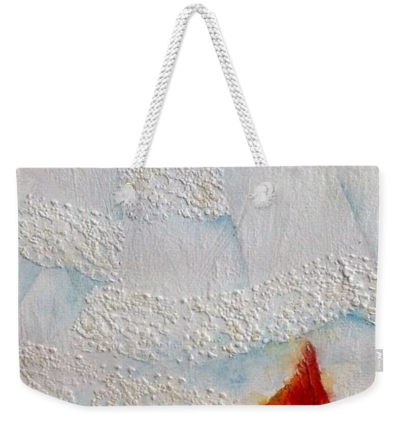 Cardinal Weekender Tote Bag featuring the painting Red Feathers by Nicole Gelinas
