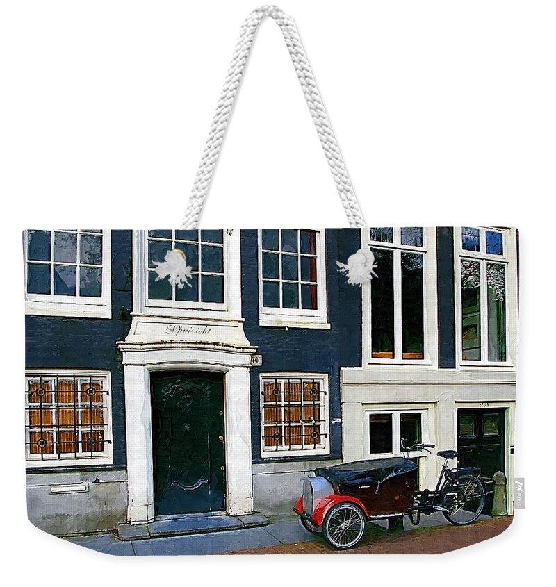 Bike Weekender Tote Bag featuring the photograph Red Fender Bike by Tom Reynen