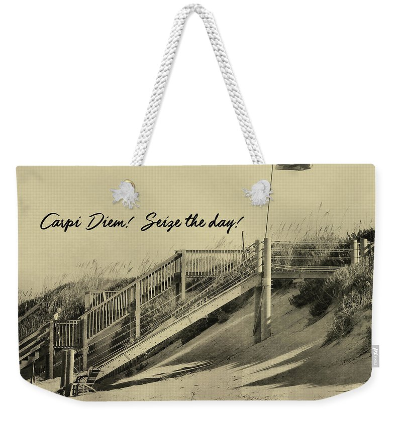 Red Weekender Tote Bag featuring the photograph Red Flag Day Quote by JAMART Photography