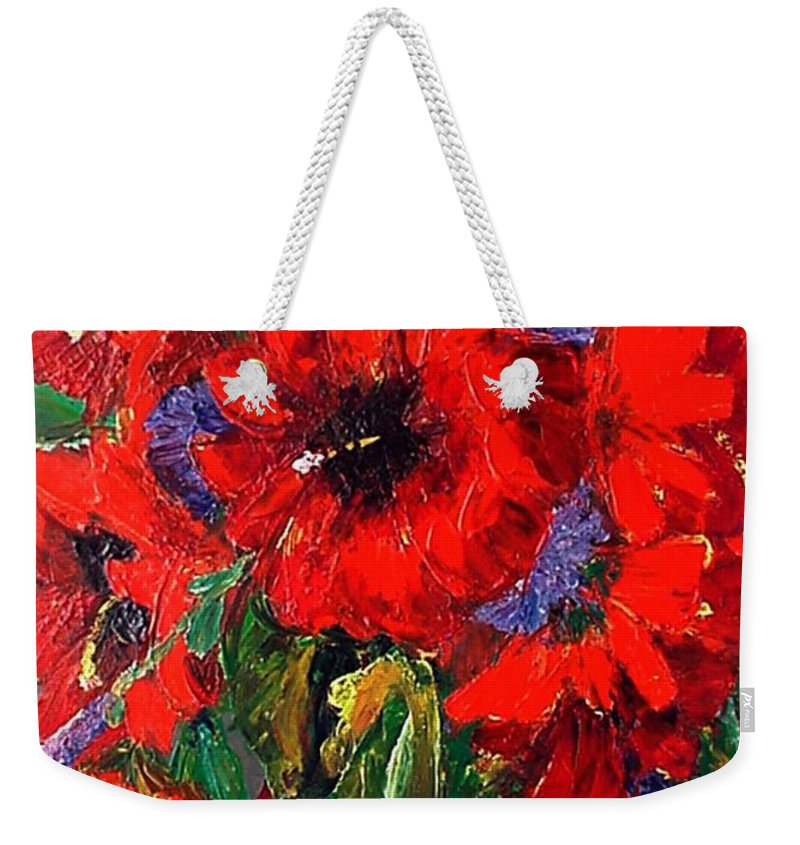 Red Weekender Tote Bag featuring the painting Red Floral by Beverly Boulet