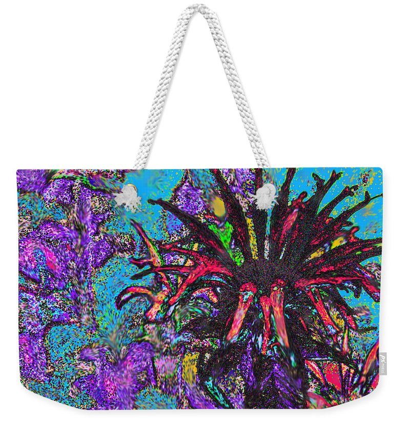 Abstract Weekender Tote Bag featuring the digital art Red Flower In The Garden by Ian MacDonald