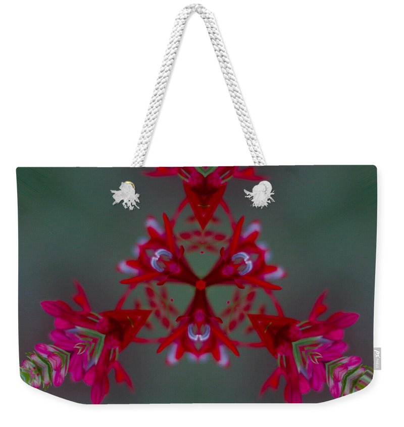 James Smullins Weekender Tote Bag featuring the photograph Red Flowers Abstract by James Smullins