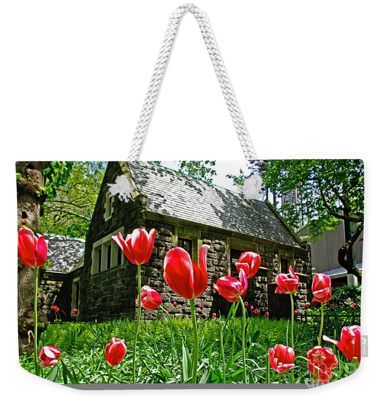 Red Weekender Tote Bag featuring the photograph Red Flowers In Central Park by Zal Latzkovich