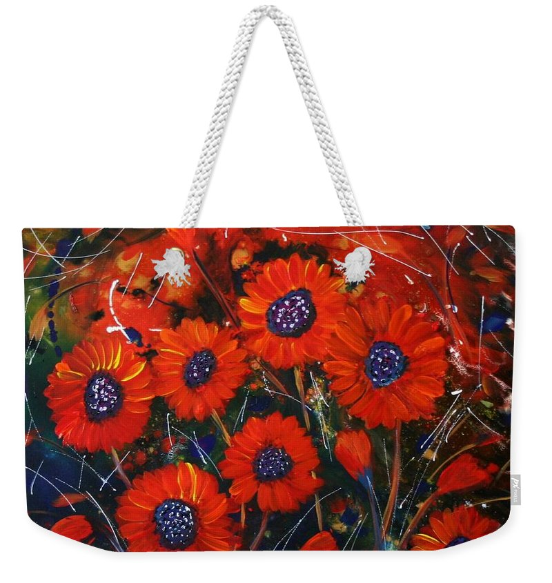 Flowers Weekender Tote Bag featuring the painting Red Flowers In The Night by Luiza Vizoli