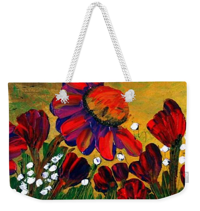 Flowers Weekender Tote Bag featuring the painting Red Garden by Luiza Vizoli