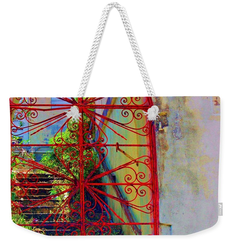 Gate Weekender Tote Bag featuring the photograph Red Gate by Debbi Granruth
