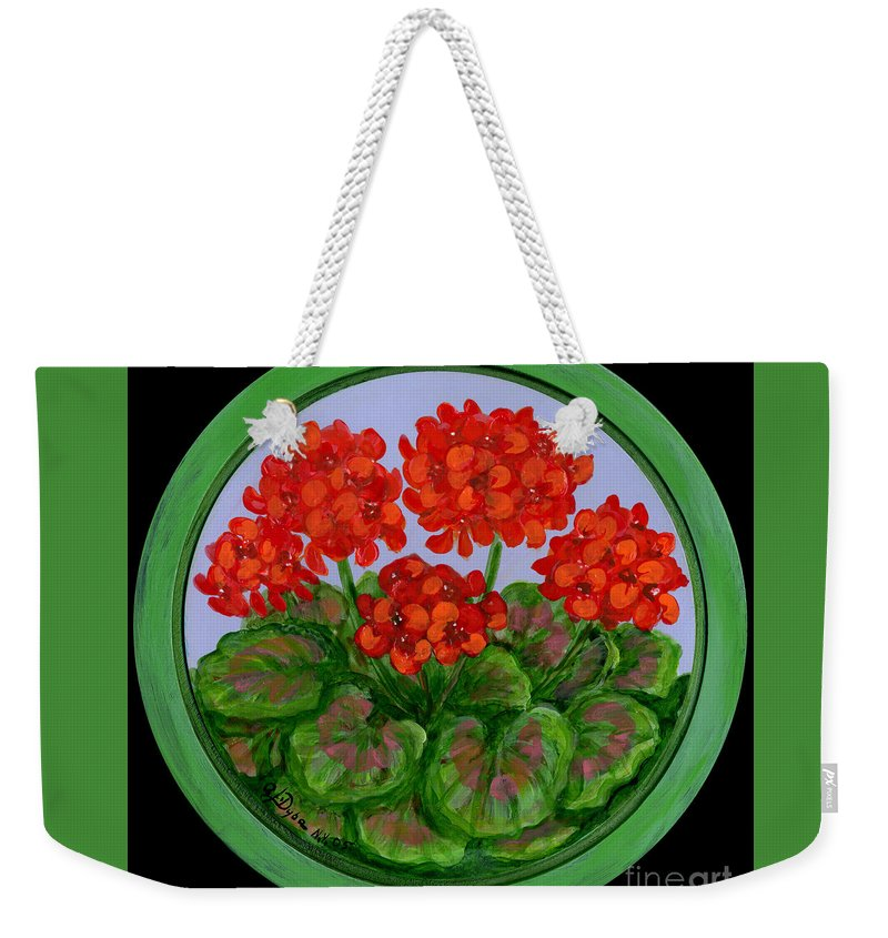 Folkartanna Weekender Tote Bag featuring the painting Red Geranium On Wood by Anna Folkartanna Maciejewska-Dyba