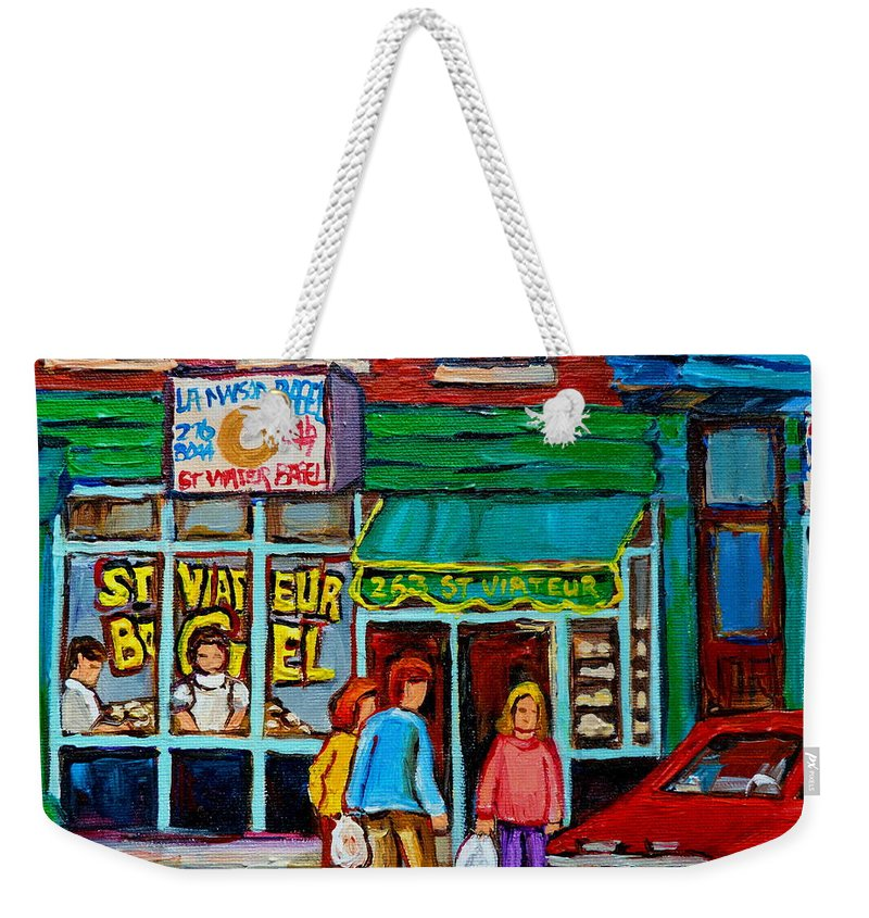 St Weekender Tote Bag featuring the painting Red Geraniums And Bagels by Carole Spandau