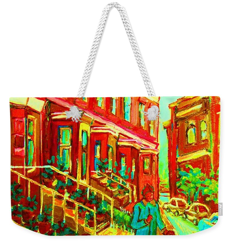 Geraniums Weekender Tote Bag featuring the painting Red Geraniums by Carole Spandau
