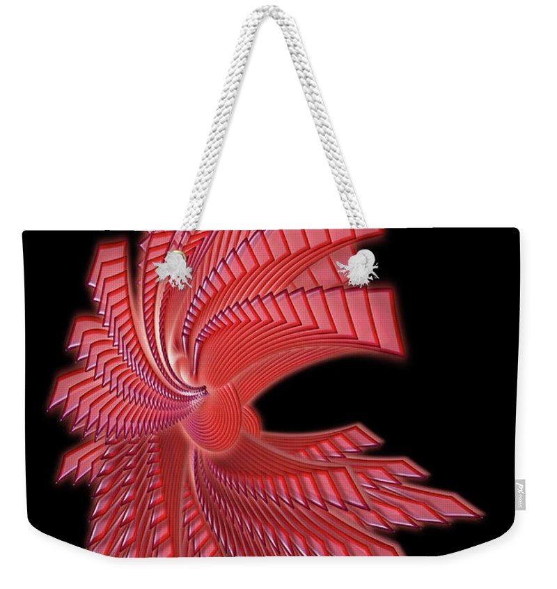Red Glass Weekender Tote Bag featuring the digital art Red Glass Abstract by Ann Garrett