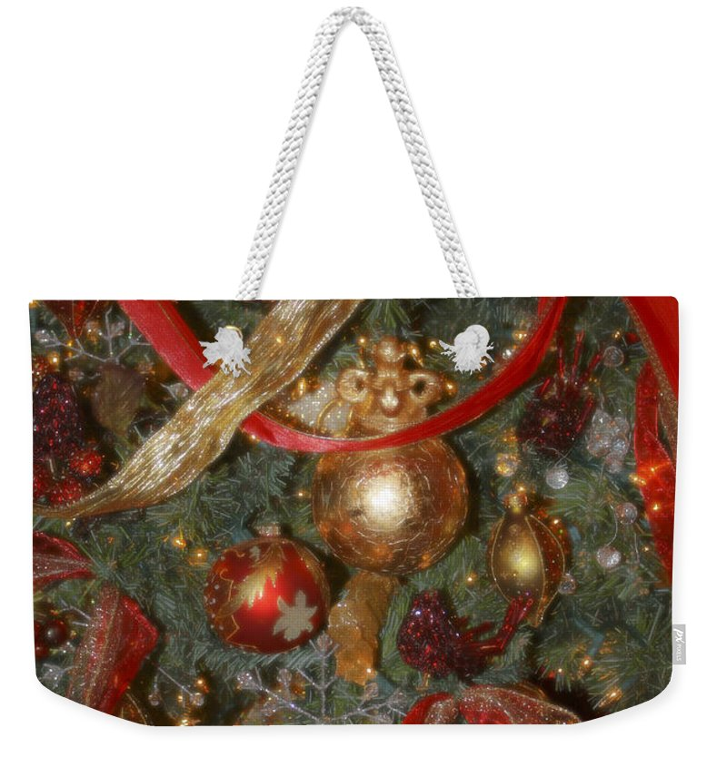 Christmas Weekender Tote Bag featuring the photograph Red Gold Tree No 2 Fashions For Evergreens Event Hotel Roanoke 2009 by Teresa Mucha