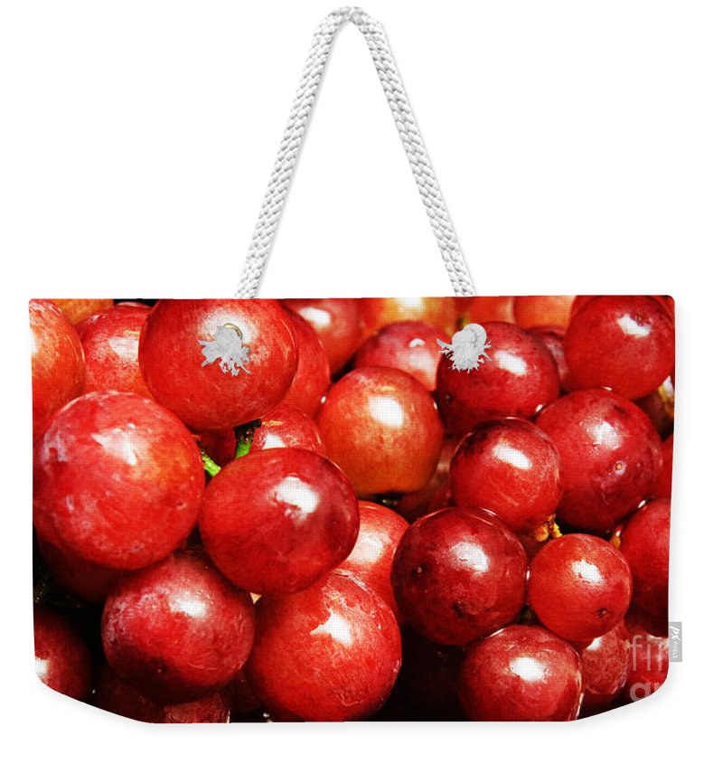 Grapes Weekender Tote Bag featuring the photograph Red Grape Pano by Andee Design