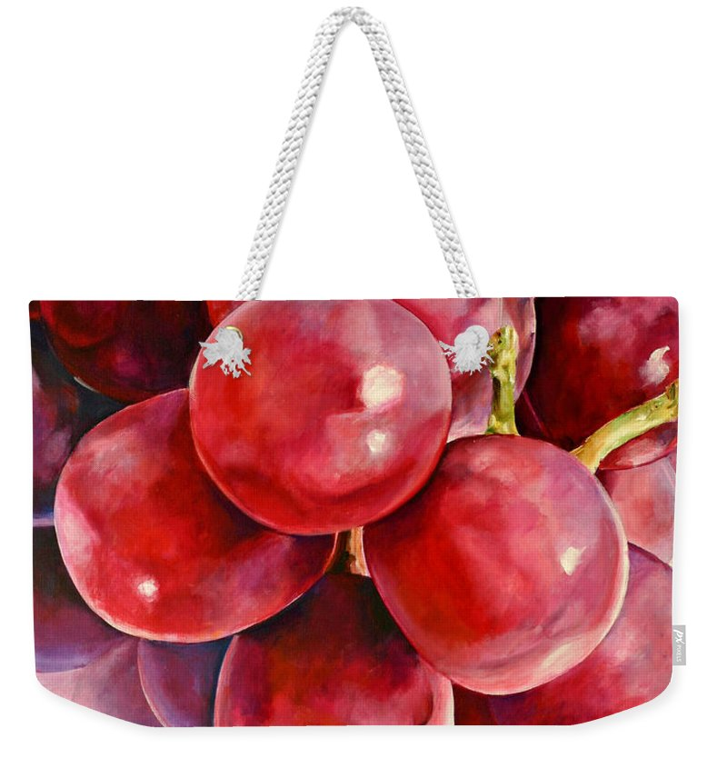 Red Weekender Tote Bag featuring the painting Red Grape Reflections by Toni Grote