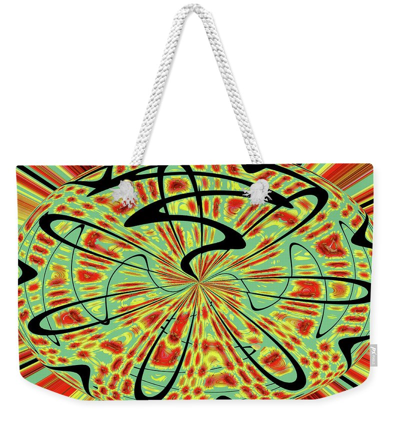 Red Green Yellow And Black Abstract Weekender Tote Bag featuring the digital art Red Green Yellow And Black Abstract by Tom Janca