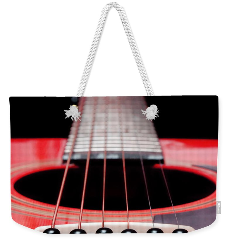 Andee Design Guitar Weekender Tote Bag featuring the photograph Red Guitar 16 by Andee Design