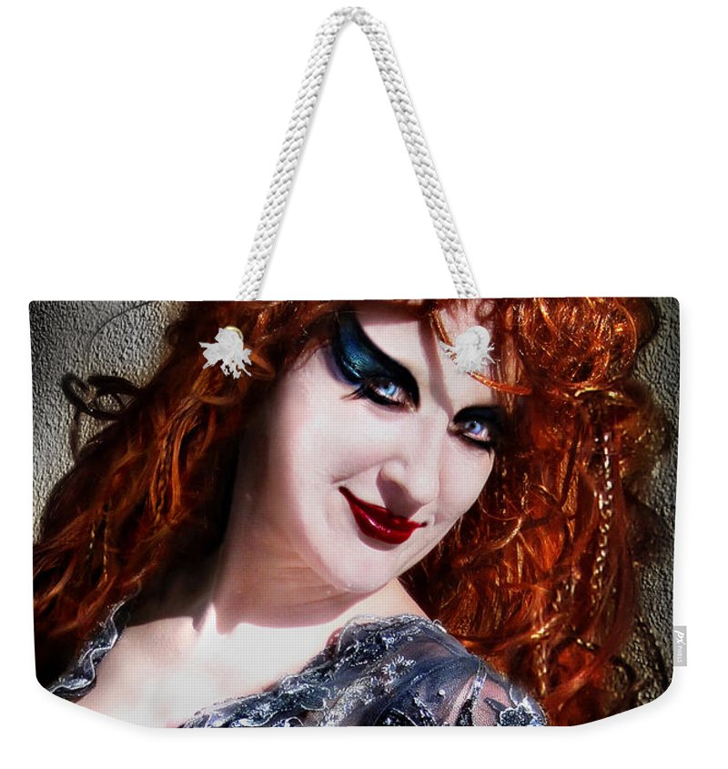 Model Weekender Tote Bag featuring the photograph Red Hair, Gothic Mood. Model Sofia Metal Queen by Sofia Metal Queen