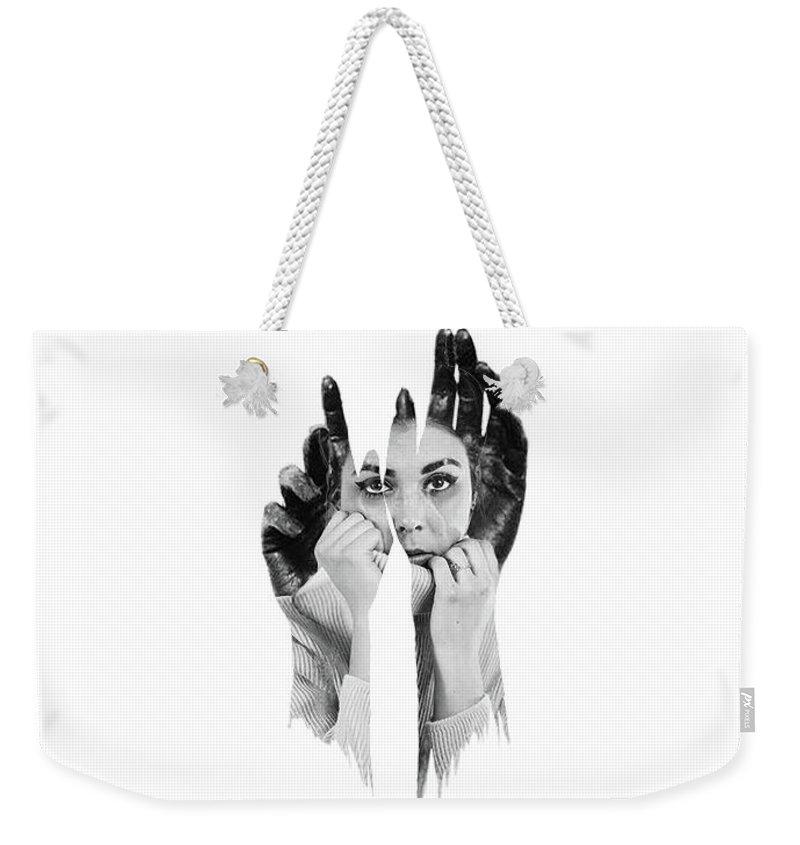 Digital Art Weekender Tote Bag featuring the digital art Red Handed by Ashfaque Khan