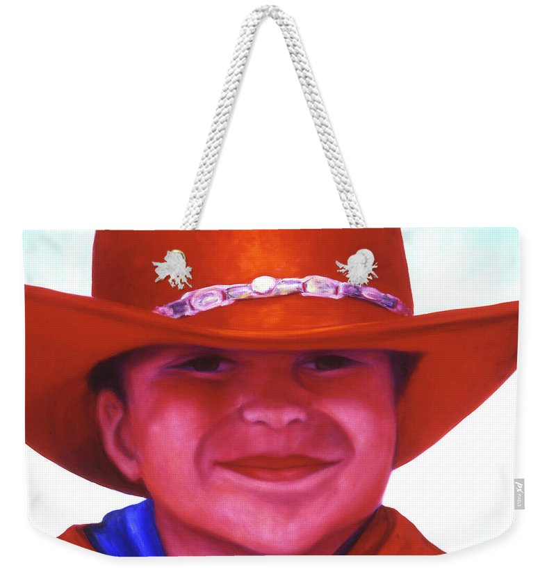 Girl Weekender Tote Bag featuring the painting Red Hat Girl by Shannon Grissom
