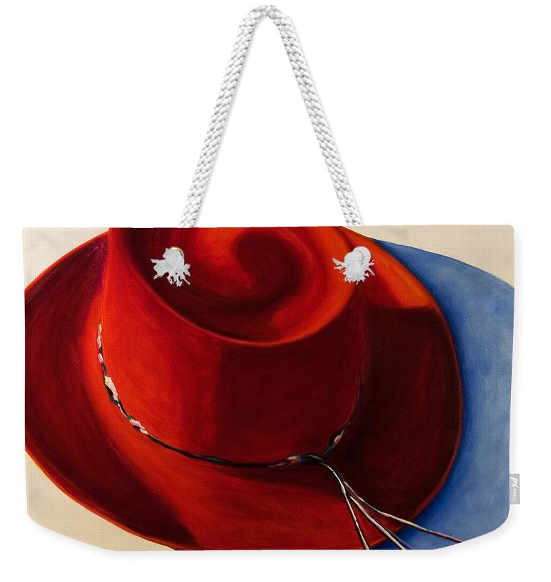 Red Hat Weekender Tote Bag featuring the painting Red Hat by Shannon Grissom