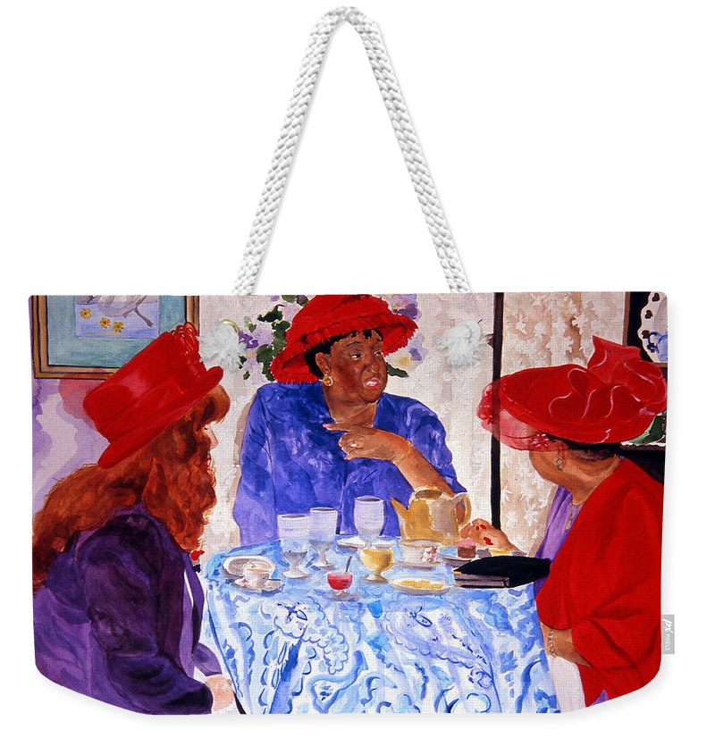 Red Hat Weekender Tote Bag featuring the painting Red Hatters Chatter by Jean Blackmer