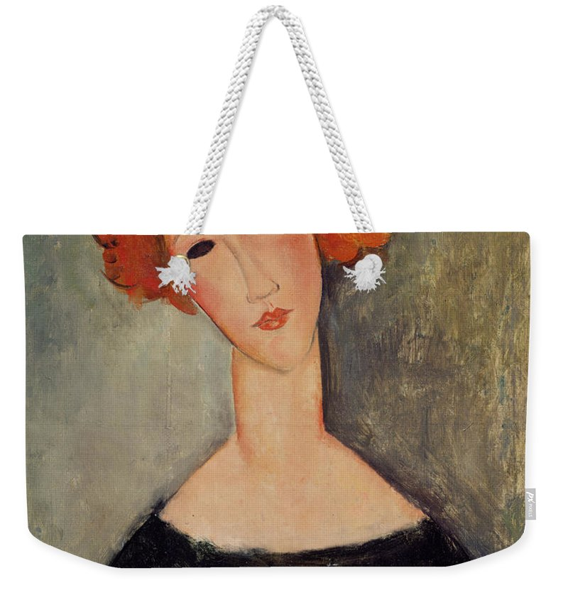 Red Weekender Tote Bag featuring the painting Red Head by Amedeo Modigliani