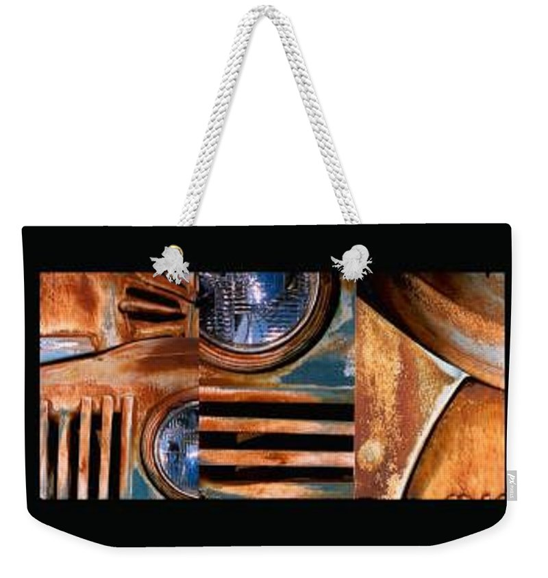 Abstract Photo Of Chevy Truck Weekender Tote Bag featuring the photograph Red Head On by Steve Karol
