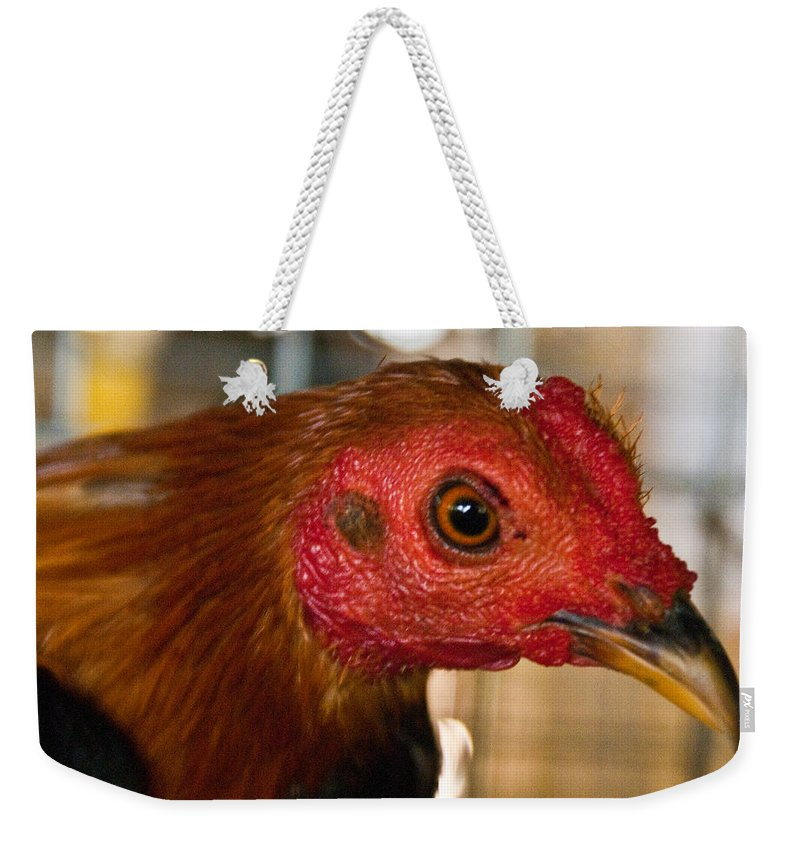 Chicken Weekender Tote Bag featuring the photograph Red Headed Chicken by Douglas Barnett
