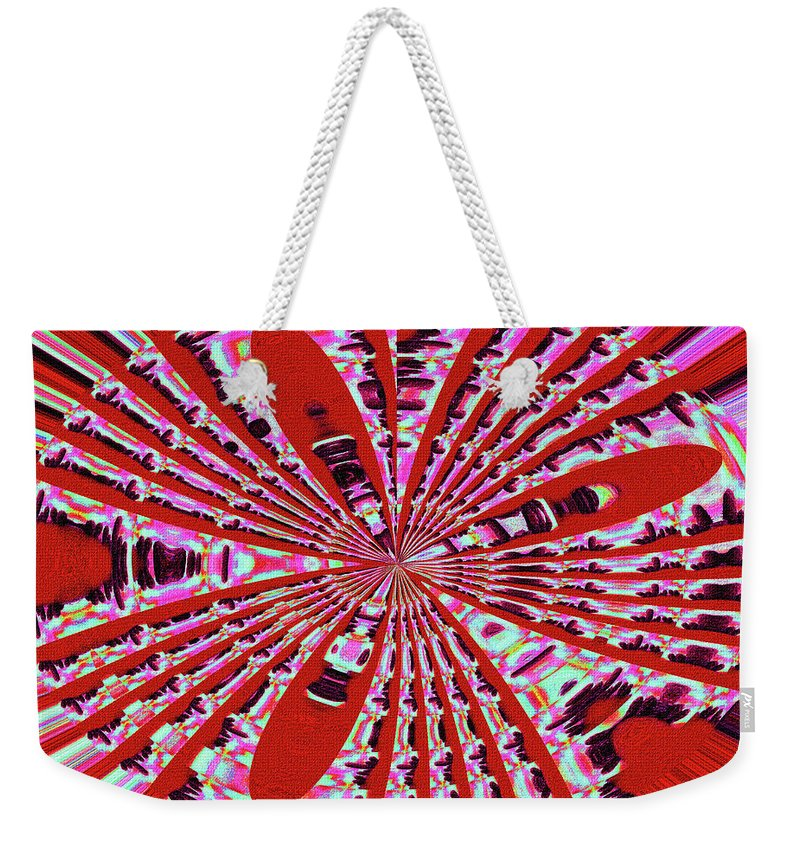 Red Heavy Screen Abstract Weekender Tote Bag featuring the digital art Red Heavy Screen Abstract by Tom Janca