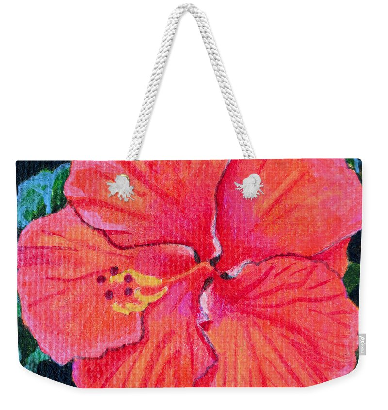 Red Weekender Tote Bag featuring the painting Red Hibiscus by Christopher Spicer