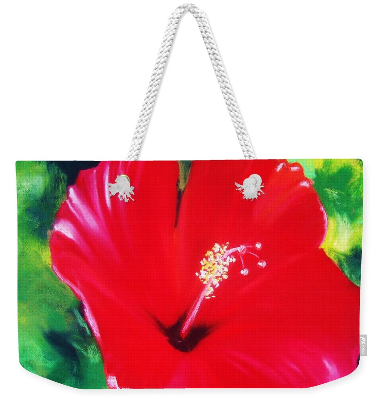 Bright Flower Weekender Tote Bag featuring the painting Red Hibiscus by Melinda Etzold