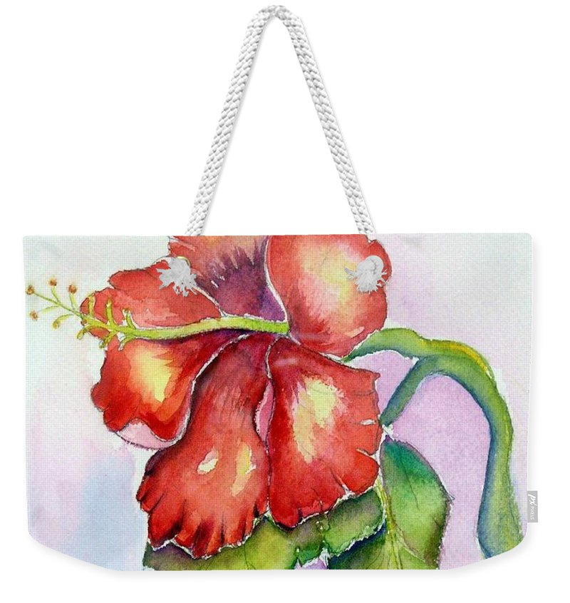 Hibiscus Weekender Tote Bag featuring the painting Red Hibiscus by Patricia Piffath